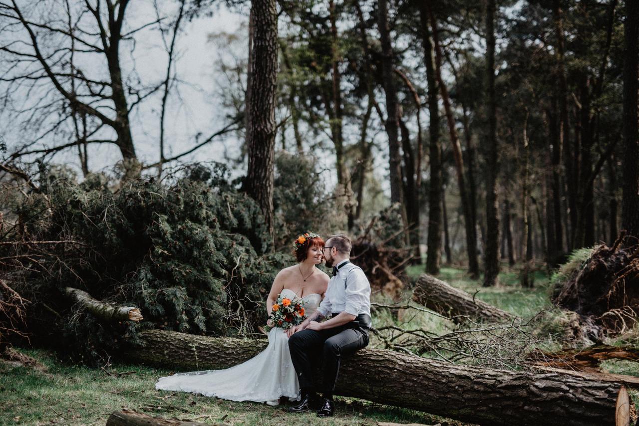 Brautpaar sitzt auf Baumstamm